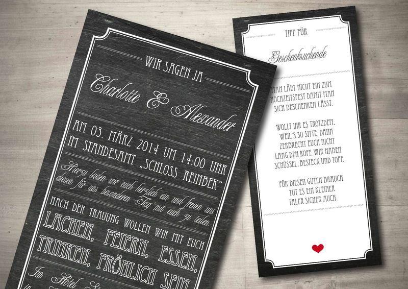 Vintage   Einladung Zur Hochzeit   Chalkboard Von Mazet Design Auf  DaWanda.com