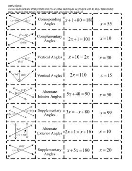 Math: Angle Relationships and Equations Cut-out Activity Matching ...