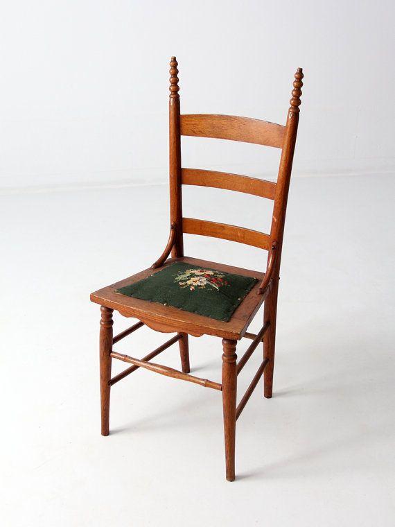 antique ladder back chair with needlepoint seat cross stitch rh pinterest com