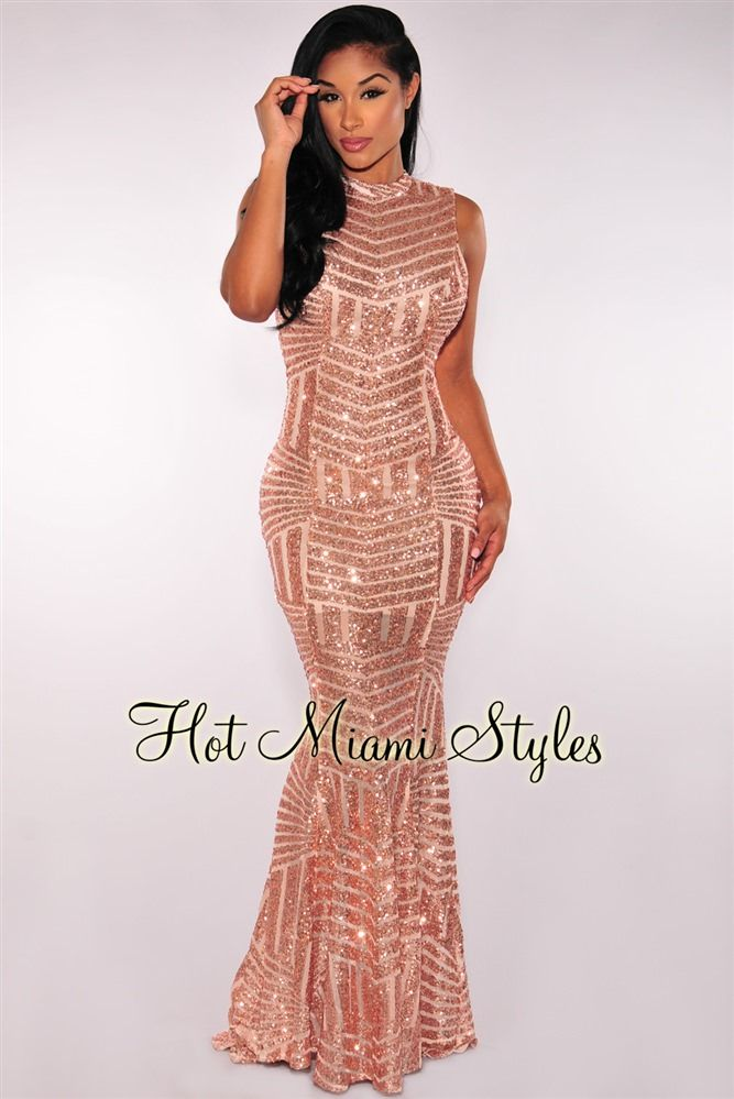 14d9a9d5b38 Rose Gold Sequins Open Back Maxi Gown in 2019