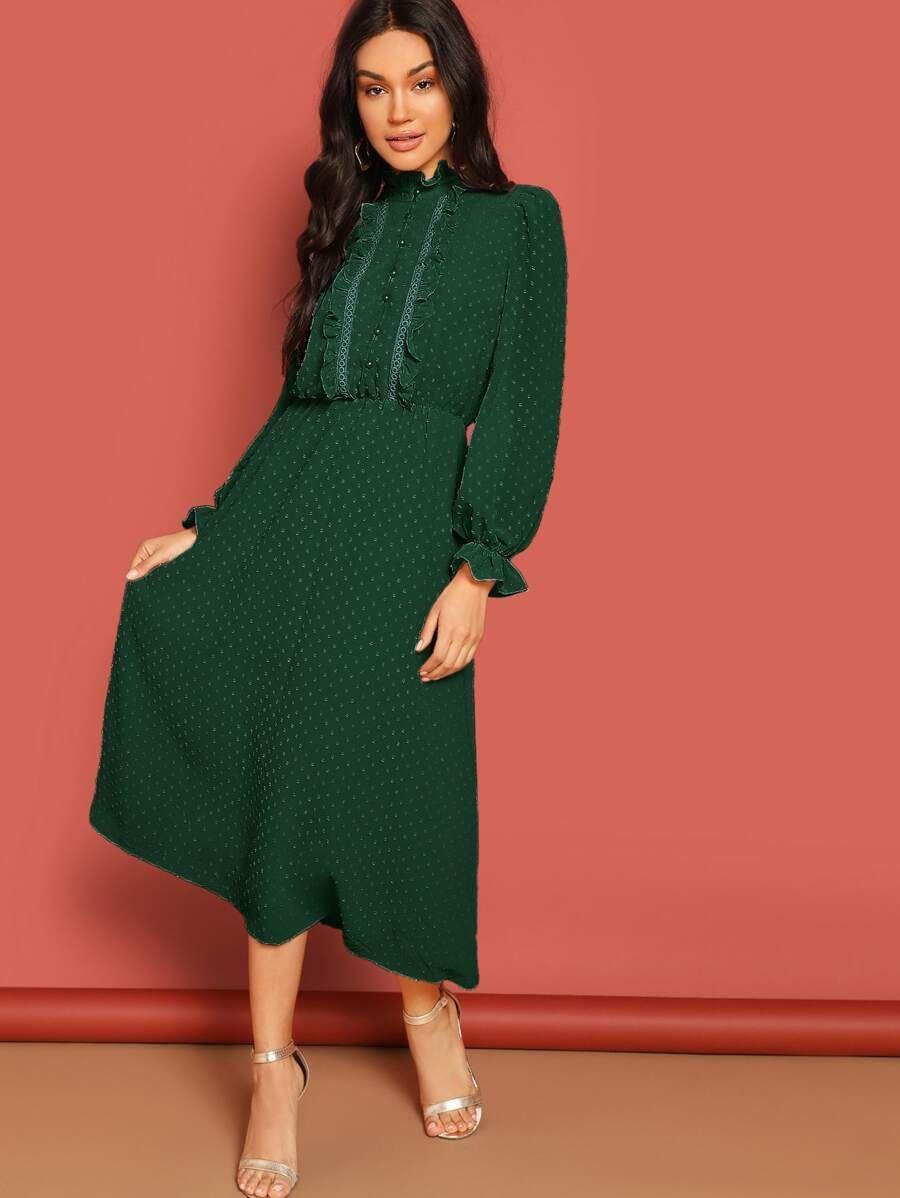 Dreaming Swiss Dot Midi Dress Swiss Dot Dress Fashion Stand Collar Dress [ 1198 x 900 Pixel ]