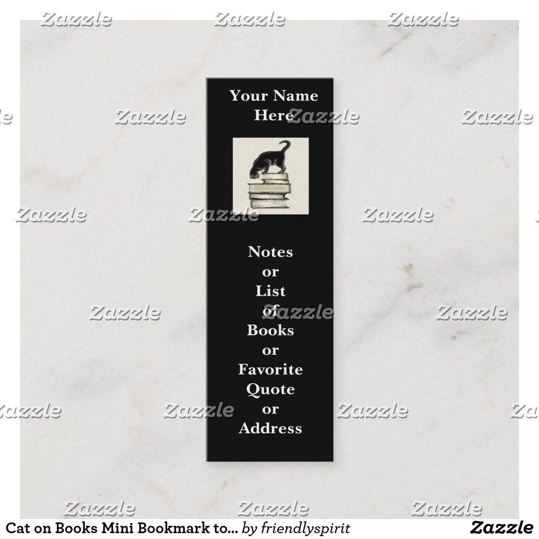 Cat On Books Mini Bookmark To Customize Mini Business Card Zazzle Com Mini Business Card Custom Mini