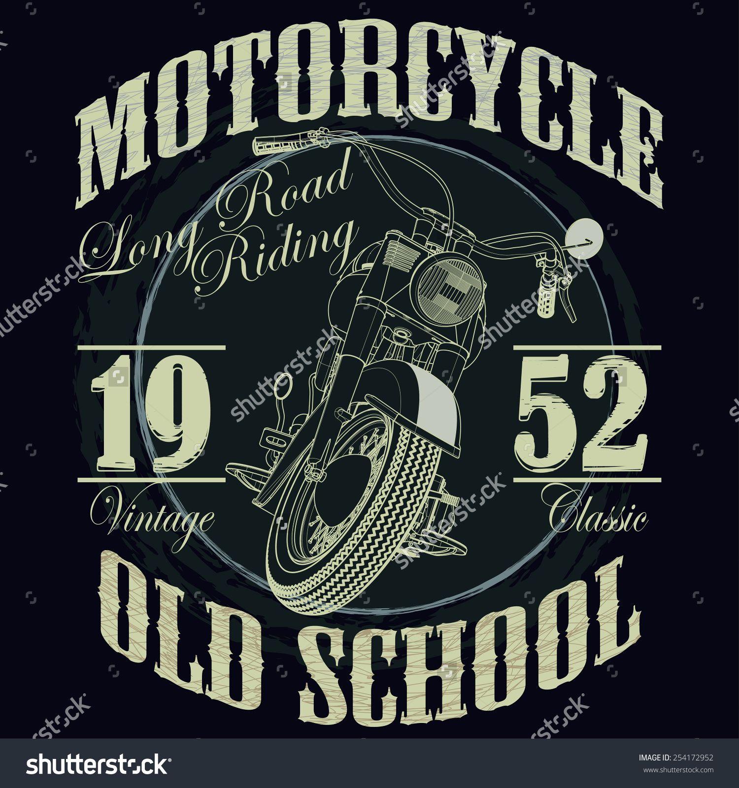 Motorcycle Racing Typography Graphics Old School Bike T