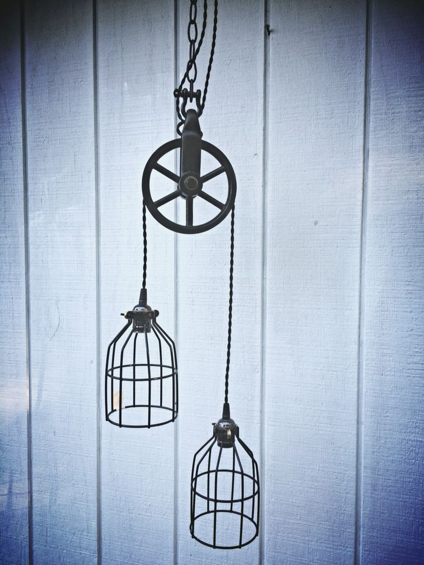 Antique Barn Pulley Light Fixture Cast Iron Wheel And Two