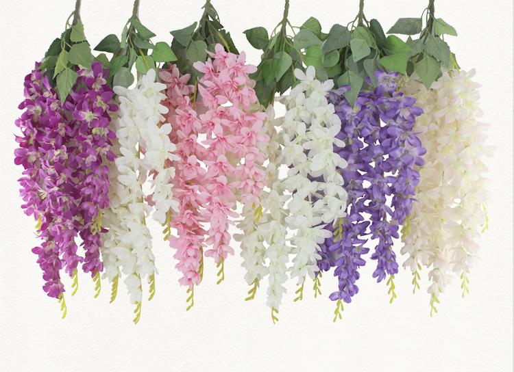 Hanging Wisteria Flower Artificial Silk Wholesale Wedding Backdrop Decorative Flowers Paper Flowers Flower Decorations Paper Flowers Diy