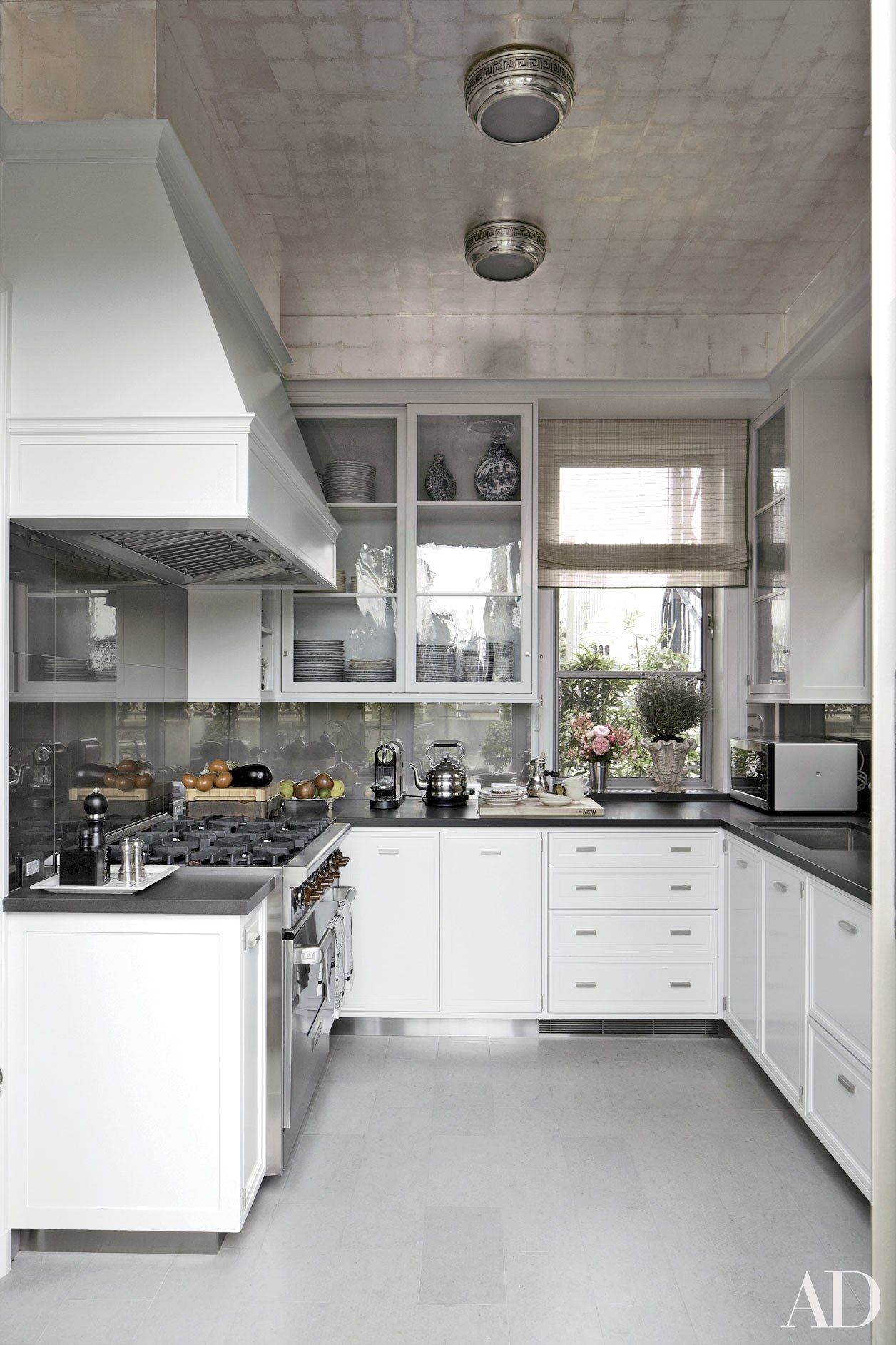 Michael S. Smithu0027s Manhattan Kitchen Has A Wolf Range, E. R. Butler U0026 Co.  Cabinet Hardware, A Silver Leafed Ceiling, And A Floor Of French Blue  Limestone By ...