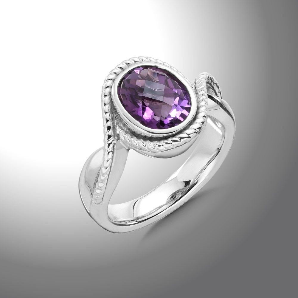 Sterling Silver & Amethyst Ring - Amethyst and Sterling Silver Ring
