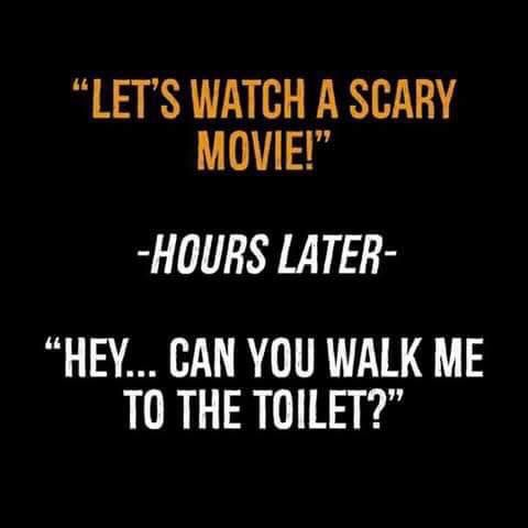 Let S Watch A Scary Movie Hours Later Hey Can You Walk Me To The Toilet Scary Movie Quotes Scary Movie Memes Funny Horror