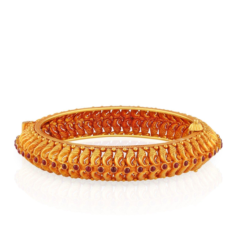 22 KT antique gold South Indian bangle | gold bangles | Pinterest ...