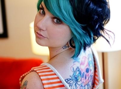 teal hair, blue hair, short hair