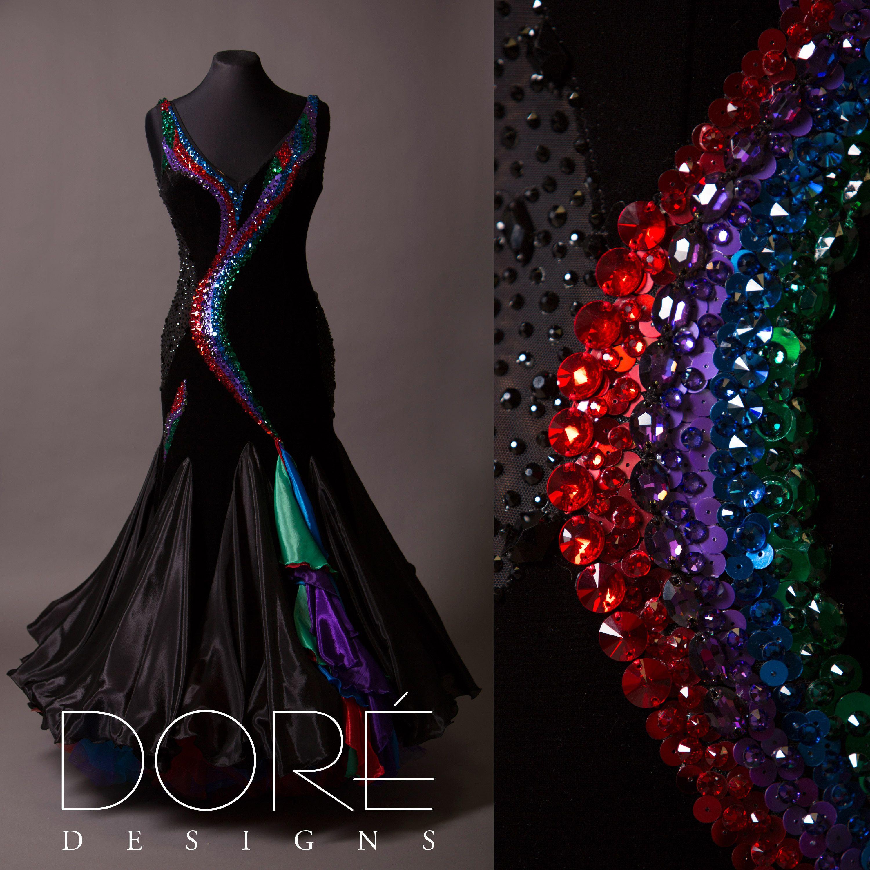 Black Standard W Rainbow Stone Work Feathered Floats Ballroom Dress Inspiration Dance Dresses Latin Dance Dresses [ 3000 x 3000 Pixel ]