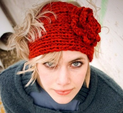 Beautiful Knitted Headband Patterns With Flower Motif Easy Scarf