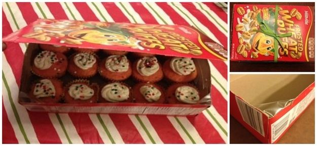 Most of these are kind of dumb but i like the idea re-using a cereal box as a cupcake carrier... Then you don't care if you leave it behind