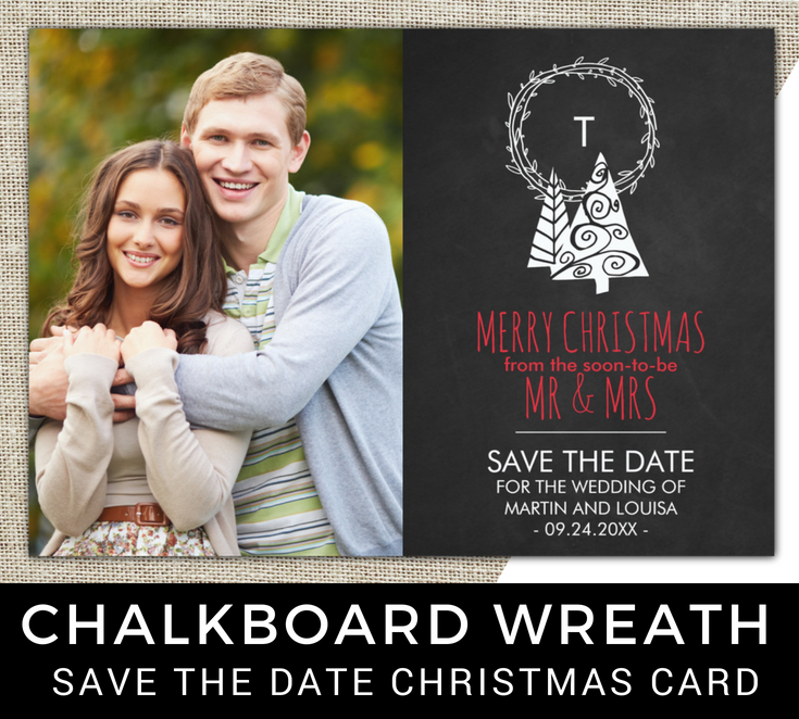 Chalkboard Save the Date Christmas Photo Card | Some day ...