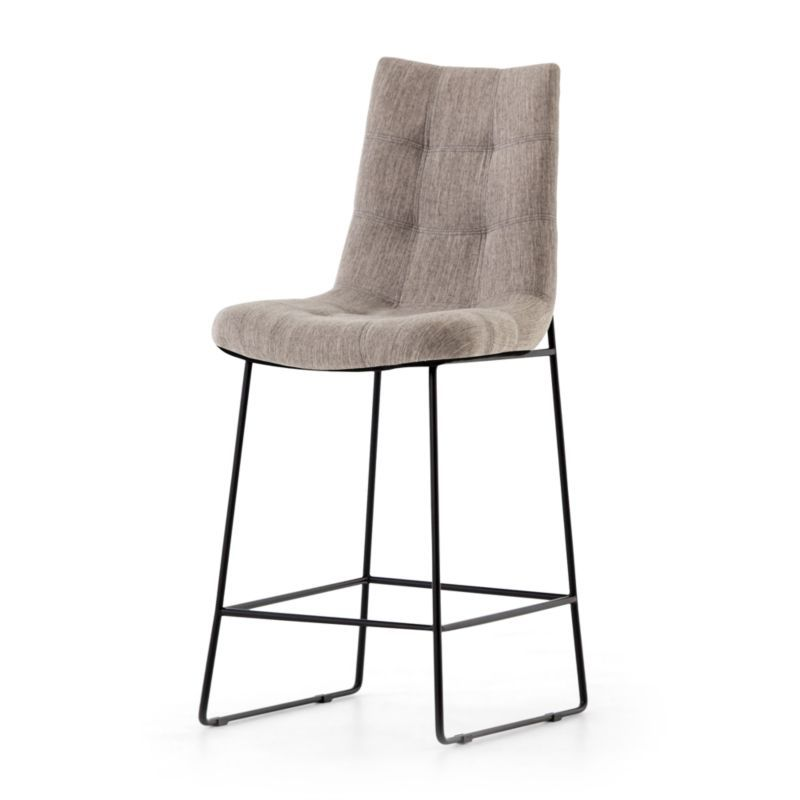 Naomi Dempsey Flannel Tufted Counter Stool Crate And Barrel