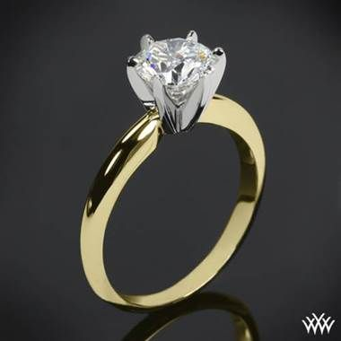 14k Yellow Gold With White Gold Head 6 Prong Solitaire
