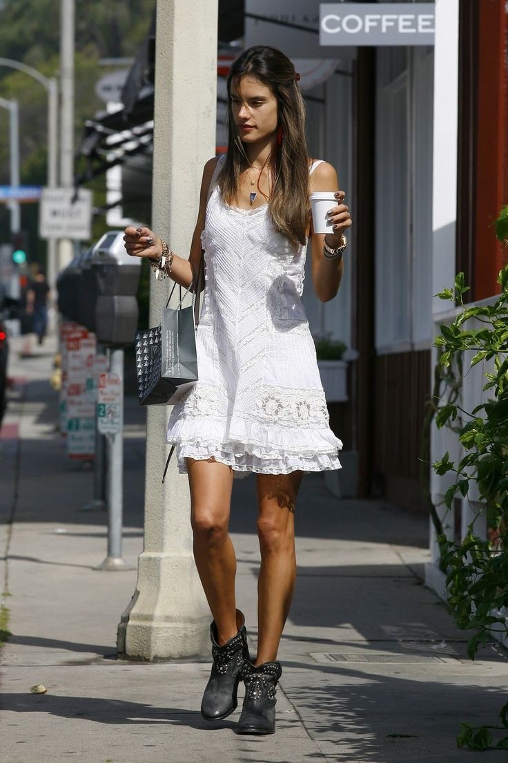 White dress boots - You Can T Go Wrong In A White Dress And Ankle Boots Nobody Does