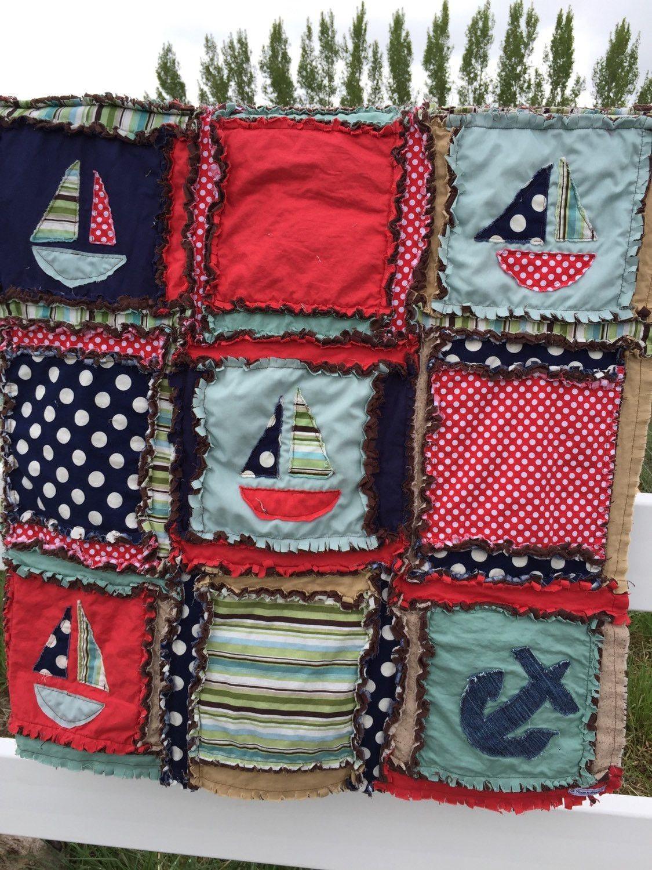 Rag Quilt Applique Boat Baby Boy Blanket Custom Quilt