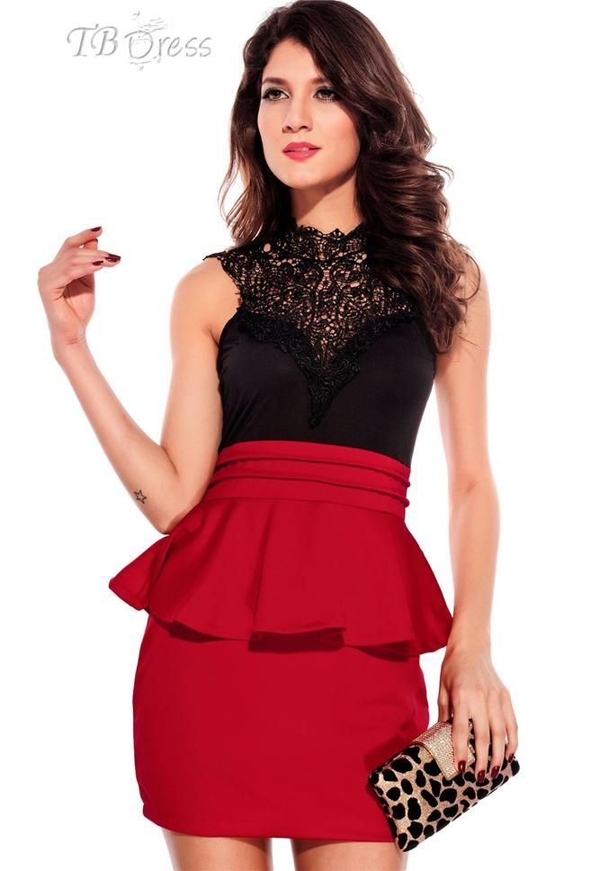 6c98a08ed6b Entrancing Hollow-out Back Peplum Red Dress