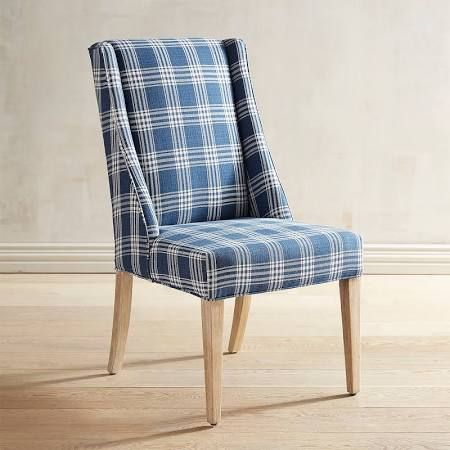 Blue Plaid Chairs Google Search Blue Dining Chair Navy Dining Chairs White Dining Chairs
