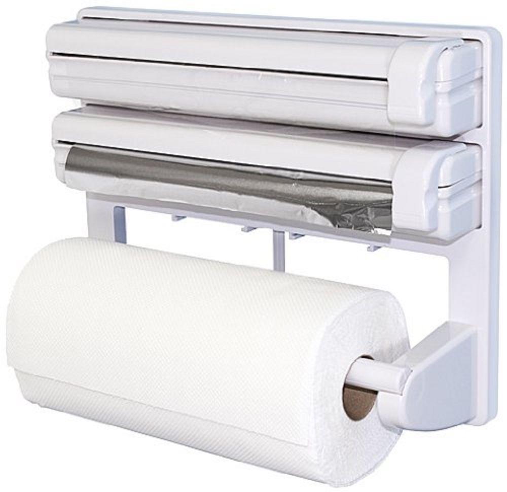 Perfect Triple Paper Dispenser For Cling Film Wrap Aluminium Foil Kitchen Roll  Holder