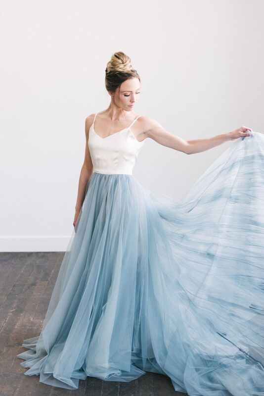 Hand painted steele blue Mae dress! CREDITS: Photography: Jessica ...