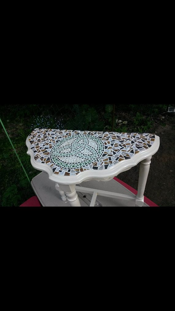 Vintage Celtic Mosaic Table by TwoHeartsMosaics on Etsy, $350.00