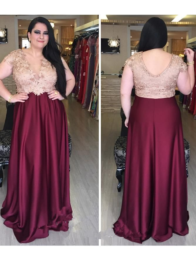 2018 A-line V neck Burgundy Plus Size Prom Dresses Custom ...