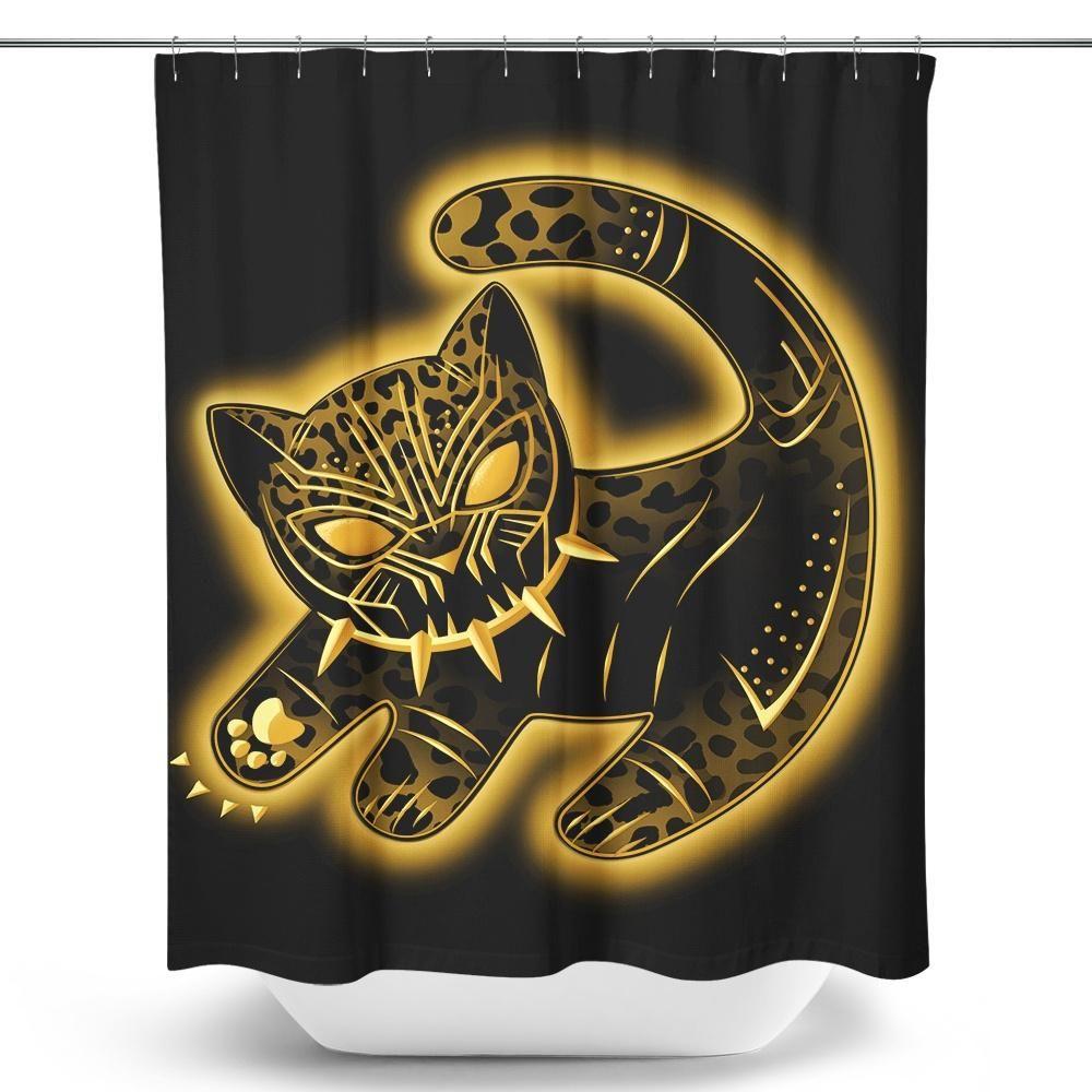 The False Panther King Shower Curtain Black Panther Black