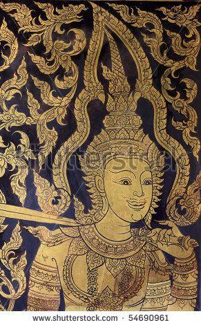 stock photo : Thai painting in wat pra singha chiangmai thailand