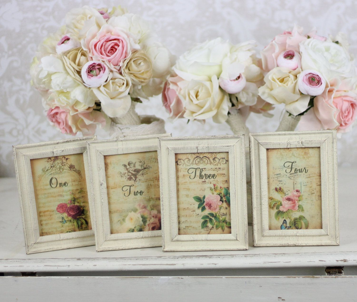 Unique Table Numbers For Wedding Reception Ideas: Shabby Chic Table Numbers With Distressed Frames Vintage