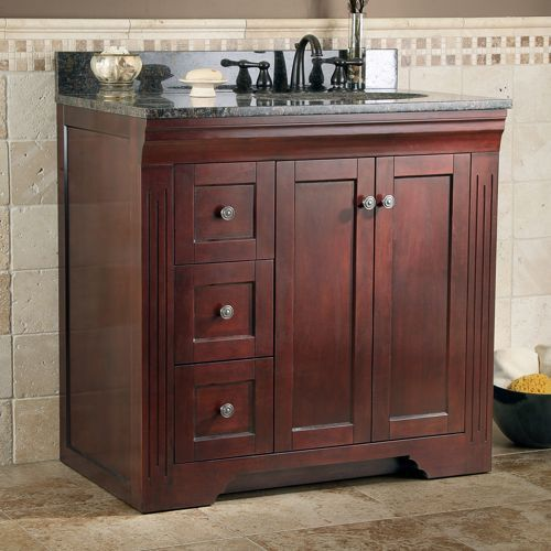 Rockwell 35 Inch Bath Vanity By Todayu0027s Bath Merlot Finish Vanity With  Antique Brown Granite Top