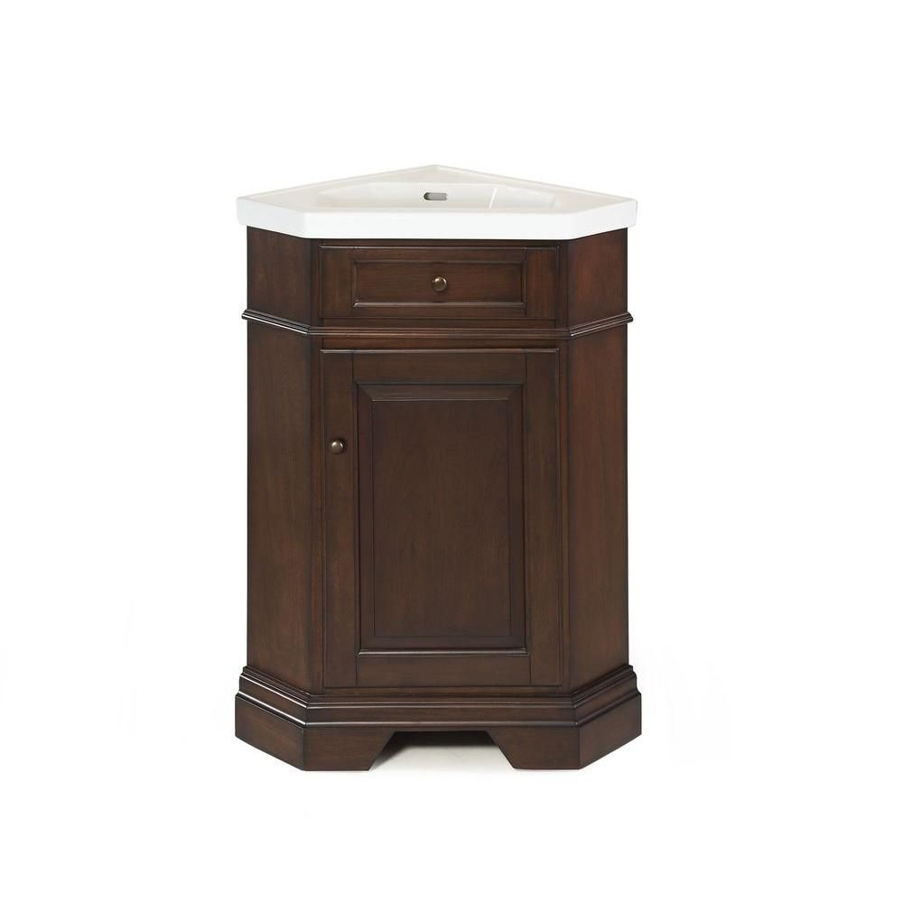 Hembry Creek Richmond 26 In Corner Vanity In Parchment With Vitreous China Vanity Top In White With Integral Basin Peg Corner Vanity Vanity Combos Vanity Top