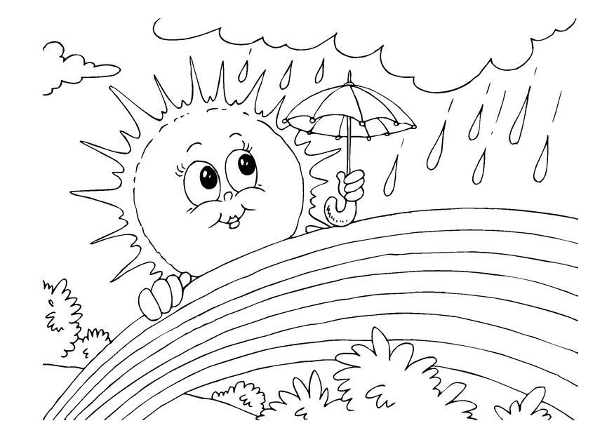 Rainbows Sun And The Rainbow Coloring Page Sun Coloring Pages