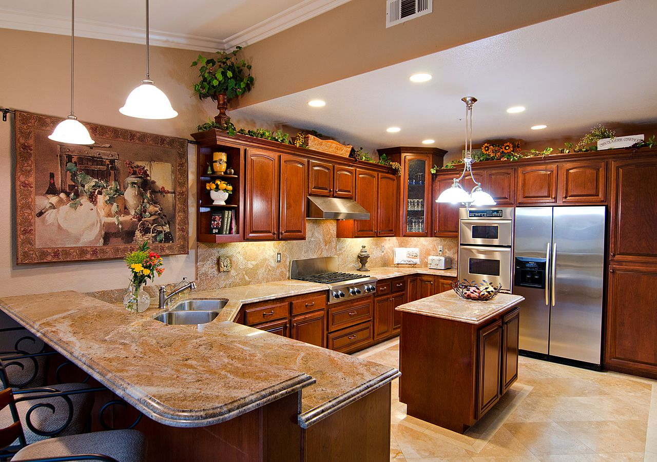 great kitchen design ideas with sleek marble table top granite tile countertop edge options - Kitchen Granite Ideas