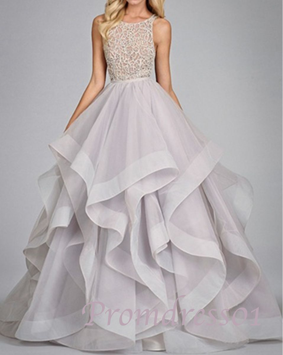 2015 elegant light purple lace+organza backless layered long prom dress 23b4473b7eab