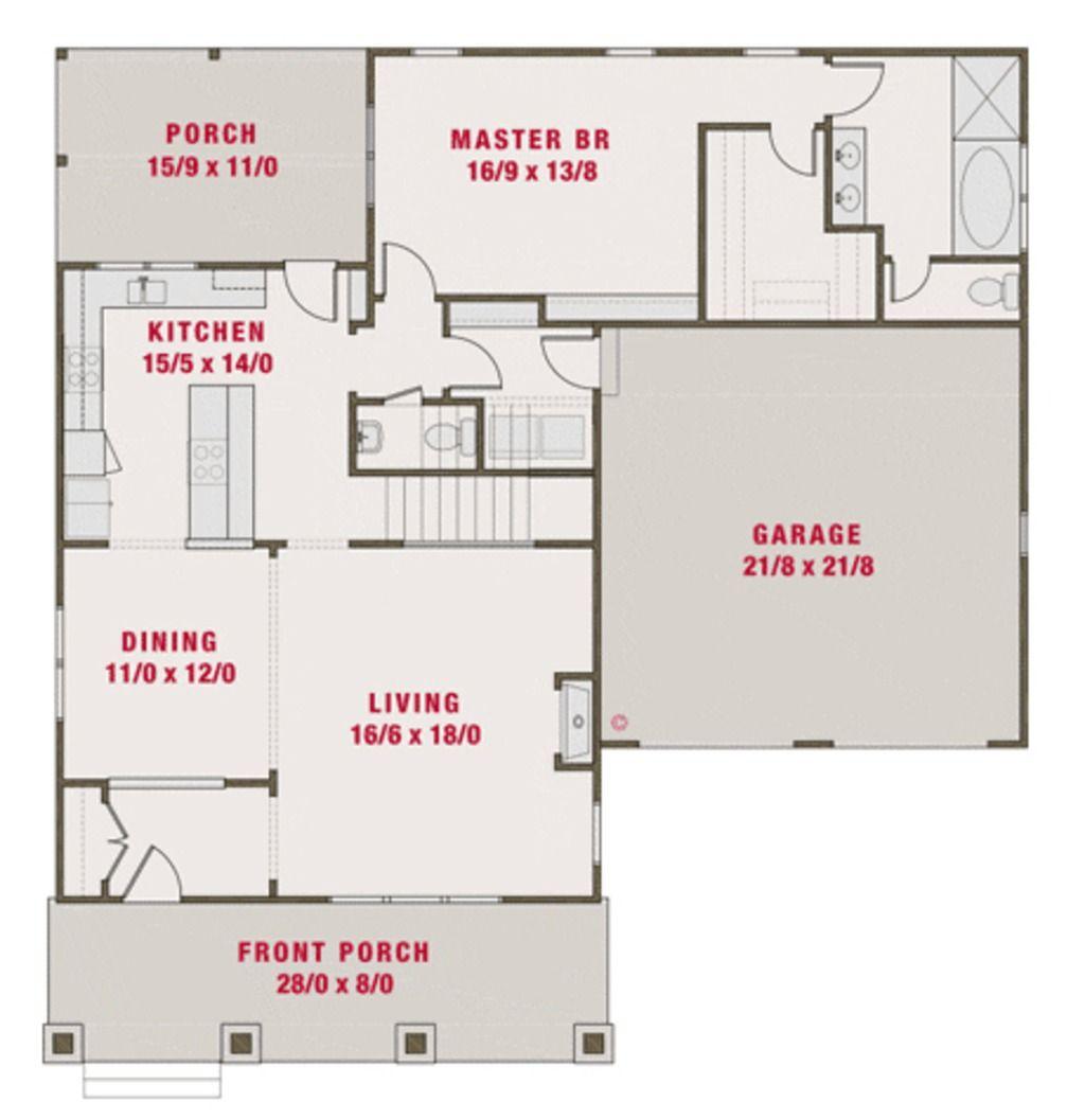 Main floor plan plan 461 39 2265 sq ft 4 beds baths for Floor plans 50 feet wide