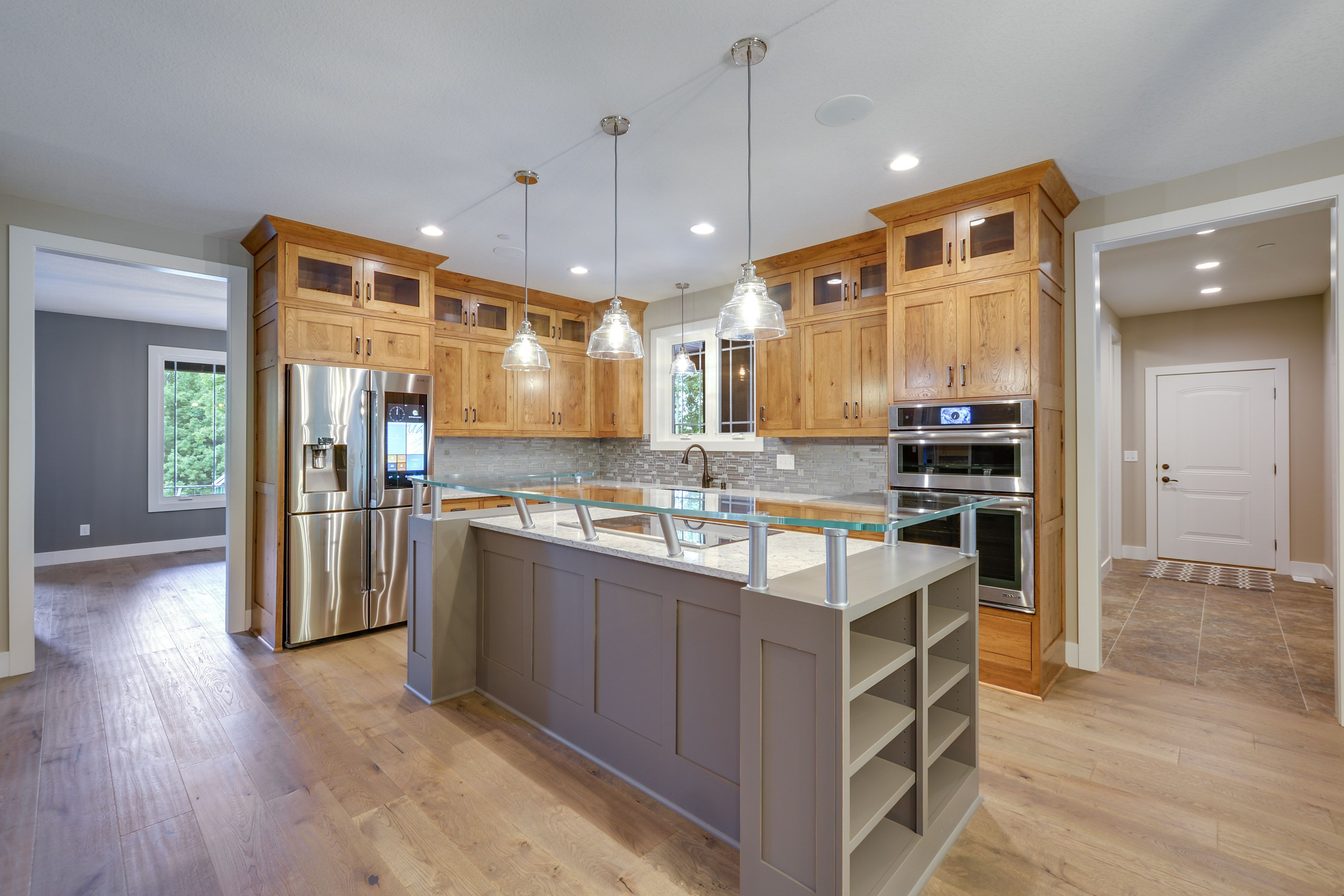 Beautiful Natural Kitchen With Grey Accents Custom Built By Fieldstone Family Homes In Prior Lake Mn Home Natural Kitchen Home And Family