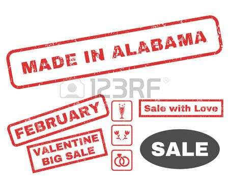 Made In Alabama text rubber seal stamp watermark with Valentines sale bonus. Tags inside rectangular shape with grunge design and scratched texture. Vector emblems for trading on a white background.