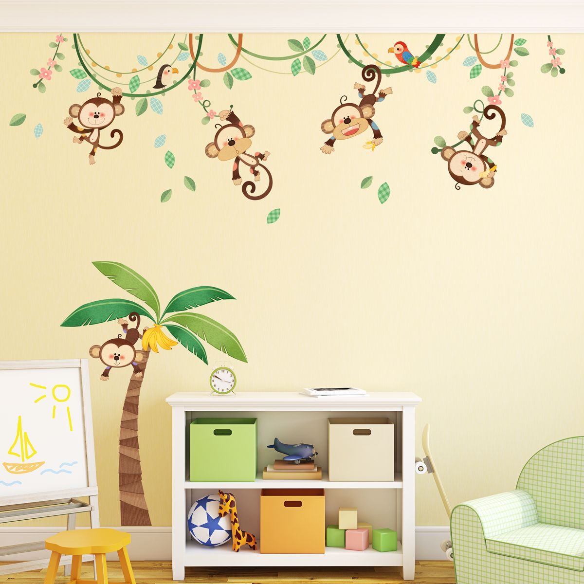 New Item has Just arrived ! DM-1507 Monkeys on Vine Wall Stickers ...