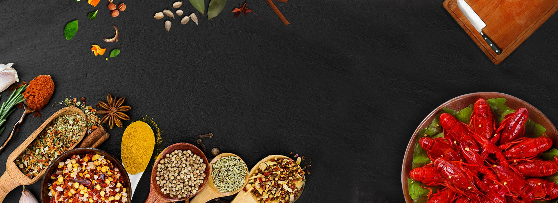 Crayfish Food Food Condiment Black Horizontal Banner Goods Seasoning Black Horizontal Banner Delicious Food Poster Food Banner Food Backgrounds