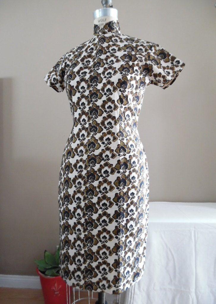 Vintage 1970s - 1980s Silk Cheongsam Chinese Wiggle Dress Custom ...