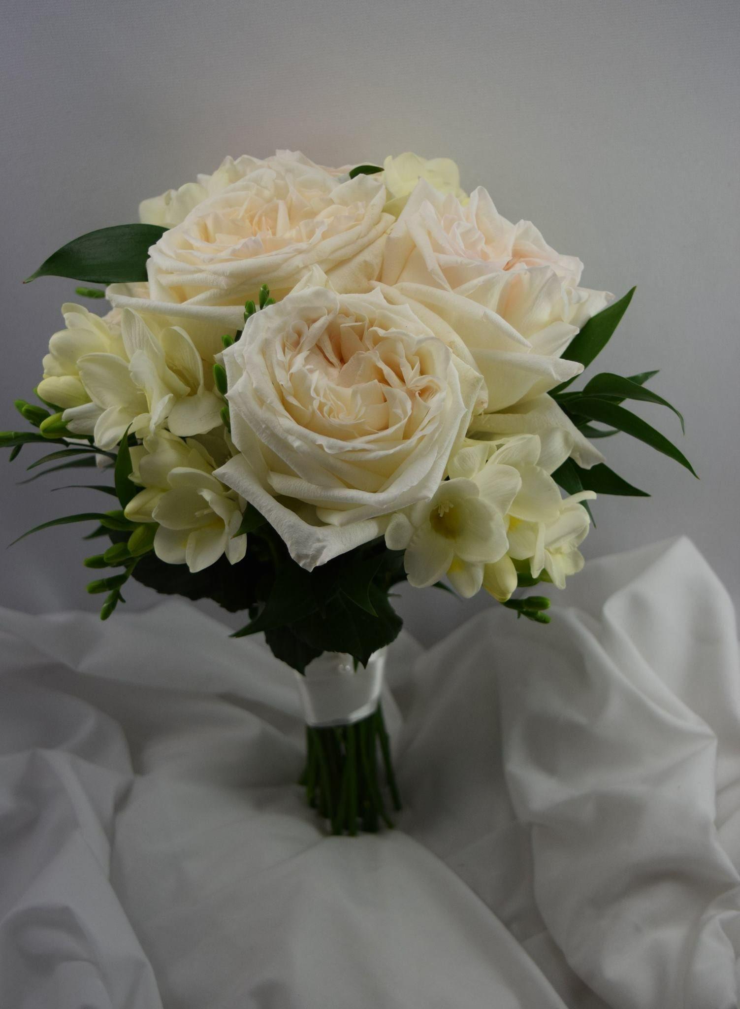 Bridalbouquet With Gardenroses Freesia And Italianruscus Italian Ruscus Floral Floral Design