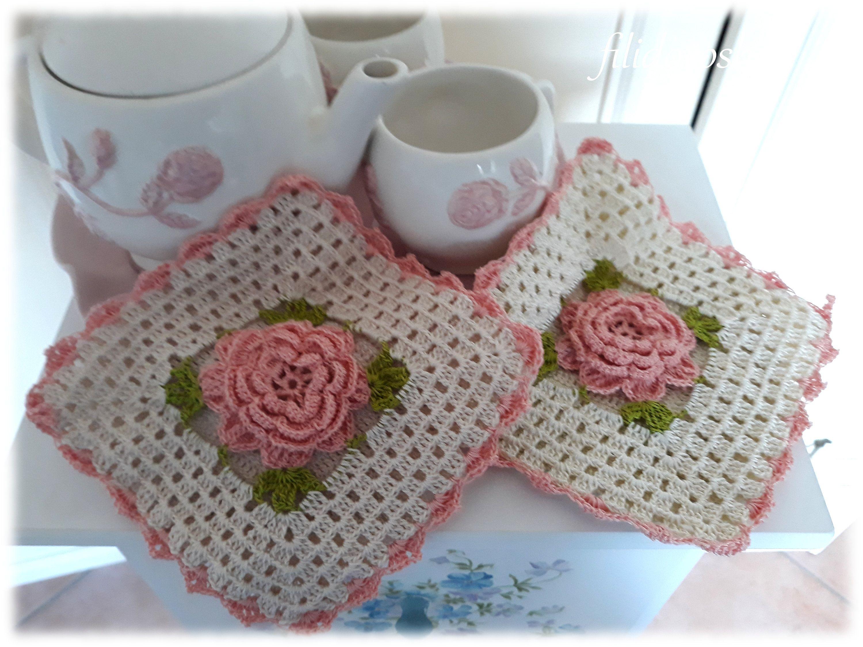 Uncinetto Shabby.Presine Shabby Uncinetto Di Filidoroshop Su Etsy Crochet Blanket Crochet Potholders Crochet