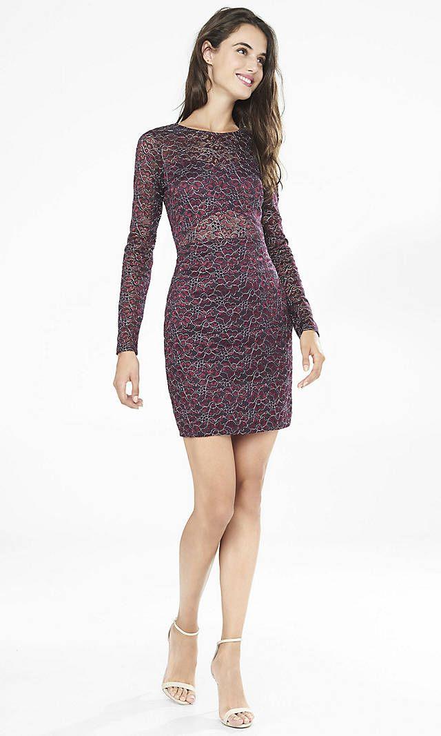 Dark Berry Metallic Lace Cutout Back Sheath Dress   Express ...