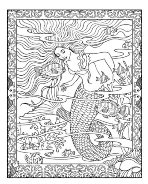 Mythical mermaids coloring book 01 mermaids pinterest for Mythical coloring pages for adults