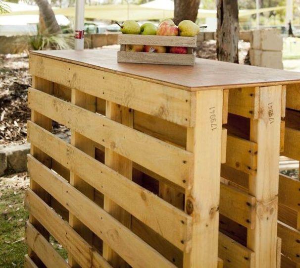 12 idées de bars à réaliser avec des palettes Wooden bar and Pallets - construire un bar de cuisine