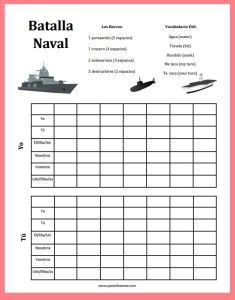 Battleship Verbs In Spanish  Battleship Spanish And Spanish Games