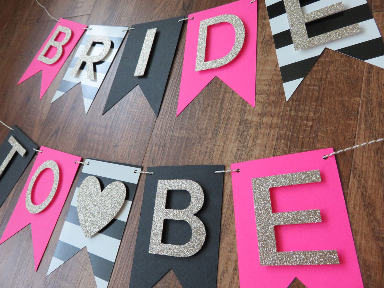 Kate Spade Party Theme Bride To Be Banner Pink Gold Black Partybridal Shower