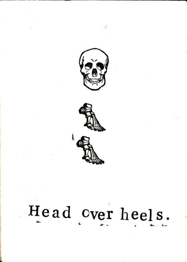 Funny Skeleton Anatomy Medical Humor Greeting Card - Head Over Heels ...